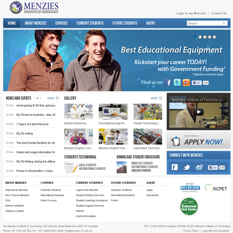Menzies Institute of Technology Website Design Renewal designed by Korean Design
